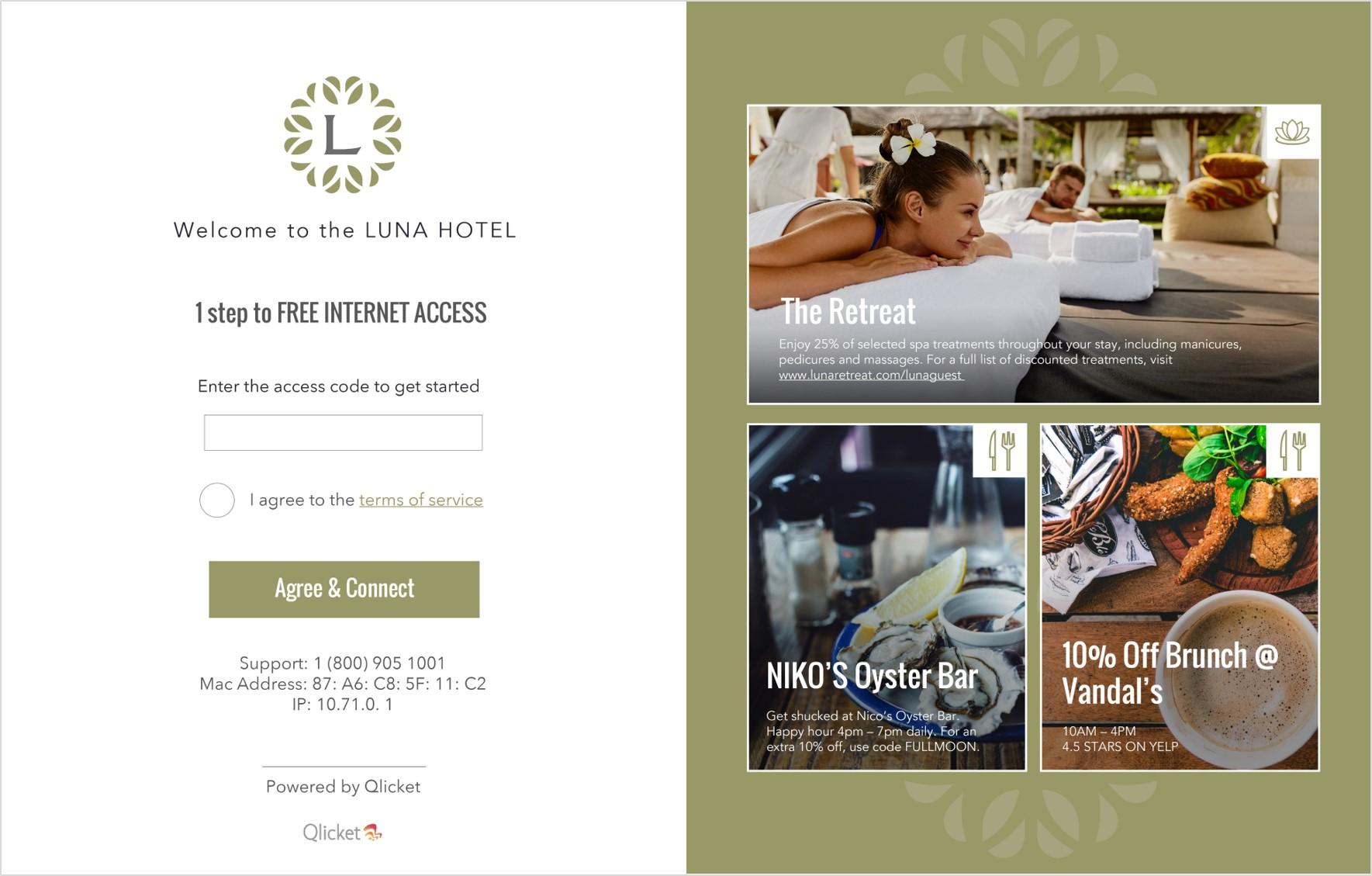 Luna Hotel WiFi Login Page