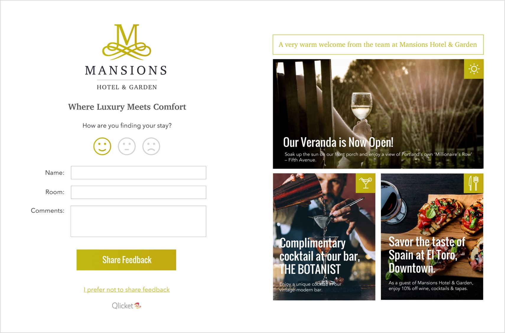 Mansions Hotel WiFi Login Page